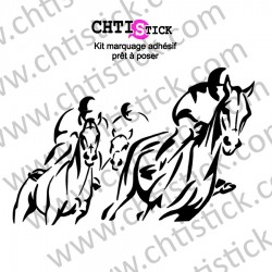 STICKER CHEVAUX COURSE