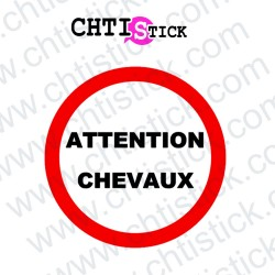 AUTOCOLLANT ATTENTION CHEVAUX ROND
