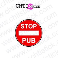 AUTOCOLLANT STOP PUB ROUGE